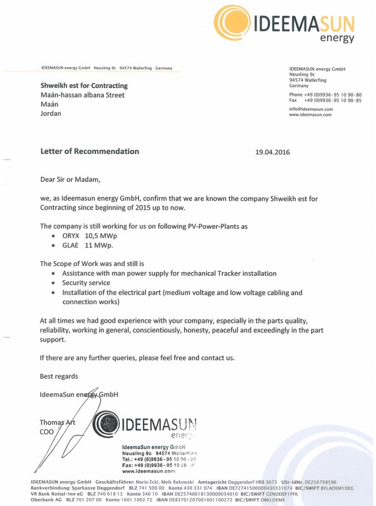 Recommendation Certificate (IDEEMA SUN Energy)